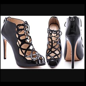 Alexandre Birman lace up peep toe heels. Worn once